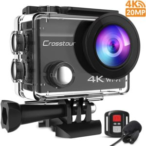 dashcam pas cher Crosstour 4K Caméra Sport 20MP Webcam WiFi
